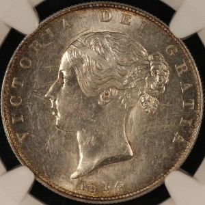 image of 1844 British half crown