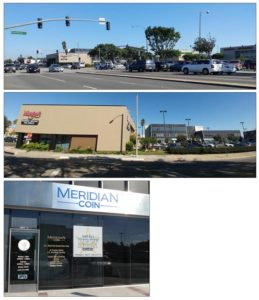 Meridian Coin is on the Southeast corner of Hawthorne & Supulveda near Morgan's Jewelers and Farmer's & Merchants Bank.