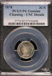 1878 Three Cent Nickel PCGS Unc Proof Cleaned