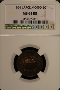 1864 Large Motto 2C NGC MS64RB