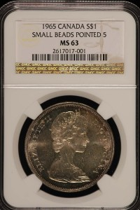 1965 Canada S$1 NGC MS63 Toned
