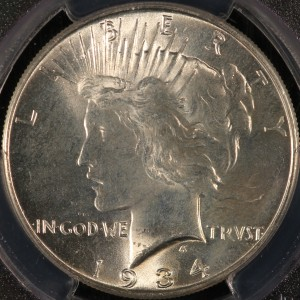 1934 Peace Dollar MS64 PCGS