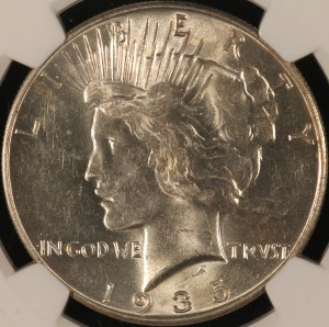 1935 Peace Silver Dollar Obverse MS62 NGC