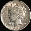1921 Peace Silver Dollar. Almost Uncirculated. Obv