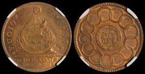 1787 Copper Fugio New Haven. NGC MS63RB