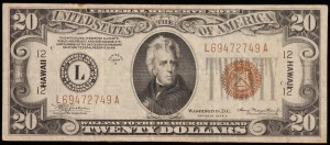 $20 1934A Federal Reserve Note. Hawaii.