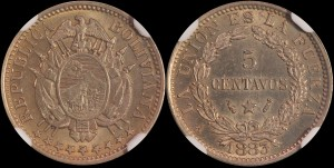 Bolivia. 1883 A, 5 Centavos. NGC Uncirculated Details. Surface Hairlines.