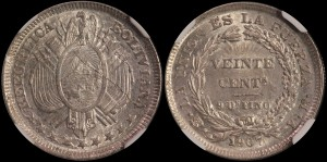 Bolivia. 1907PTS MM, 20 Centavos. NGC MS 64.
