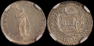 Peru. 1851 LIMA MB, 1/2 Real. NGC MS 64.