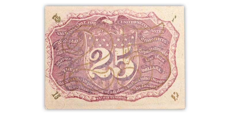 SOLD 1863 Fractional 25 Cent Note. Fr-1289