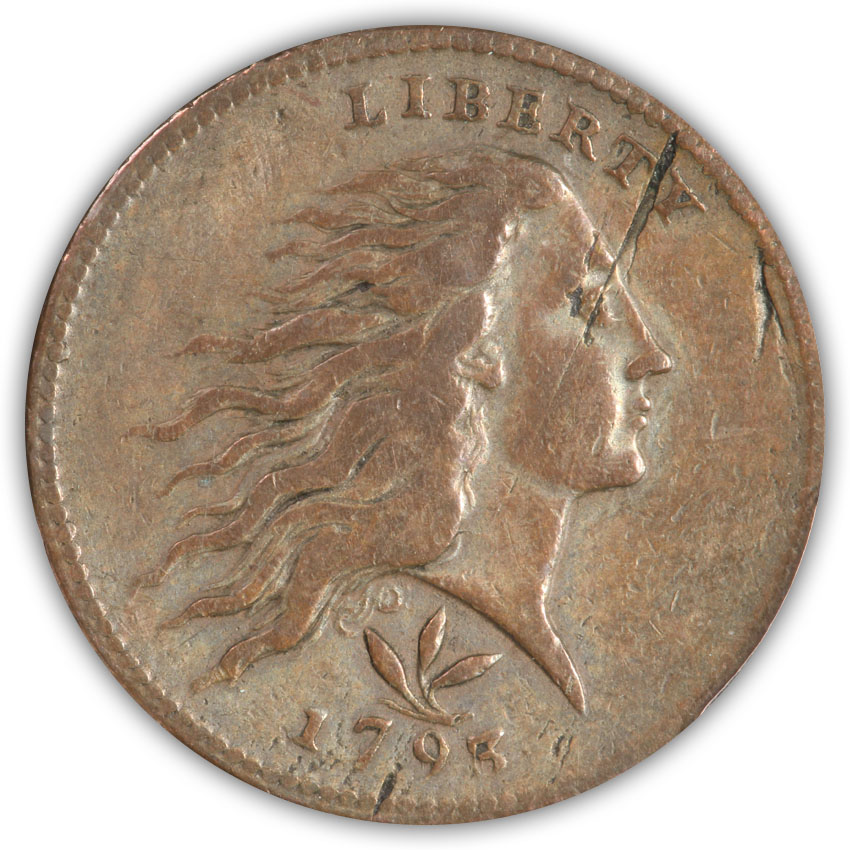 SOLD 1793 Wreath Cent. Vine & Bars. PCGS Genuine VF Details
