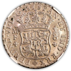 1753 Mexico 8 Reales NGC Uncirculated Chop Marks Obverse