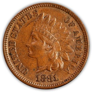 1881 Indian Cent Almost Uncirculated Obverse