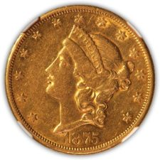 1875 CC $20 Gold Liberty Double Eagle, NGC AU 53, Obverse