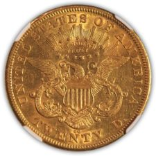 1875 CC $20 Gold Liberty Double Eagle, NGC AU 53, Reverse