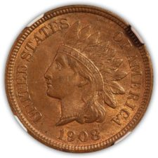 1908 S Indian Head Cent NGC MS 63 RB Obverse
