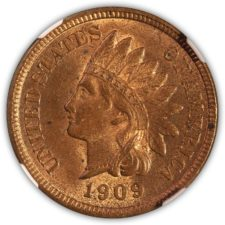 1909 S Indian Head Cent NGC MS 62 RB, Obverse