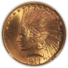 1911 $10 Indian Eagle, NGC MS 63, Obverse