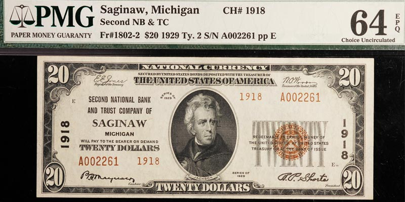 Saginaw, MI. 1929 $20 Ty.2 Second NB PMG 64 EPQ